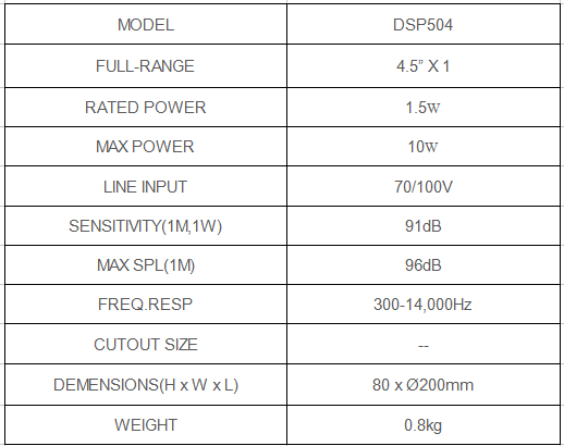 surface mount ceiling speaker specification