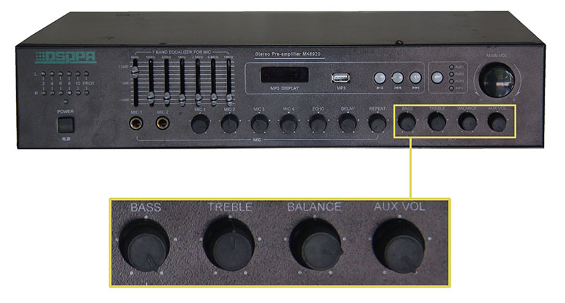 Front panel & Rear panel connection of MK6920 2×120W Professional Stereo Mixer Amplifier