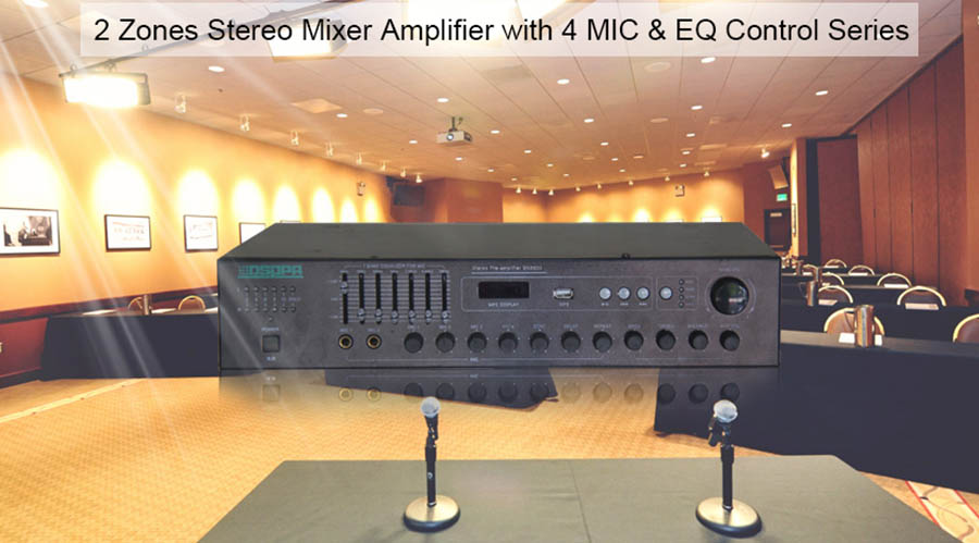 2 Zones Stereo Mixer Amplifier with 4 MIC & EQ Control Series