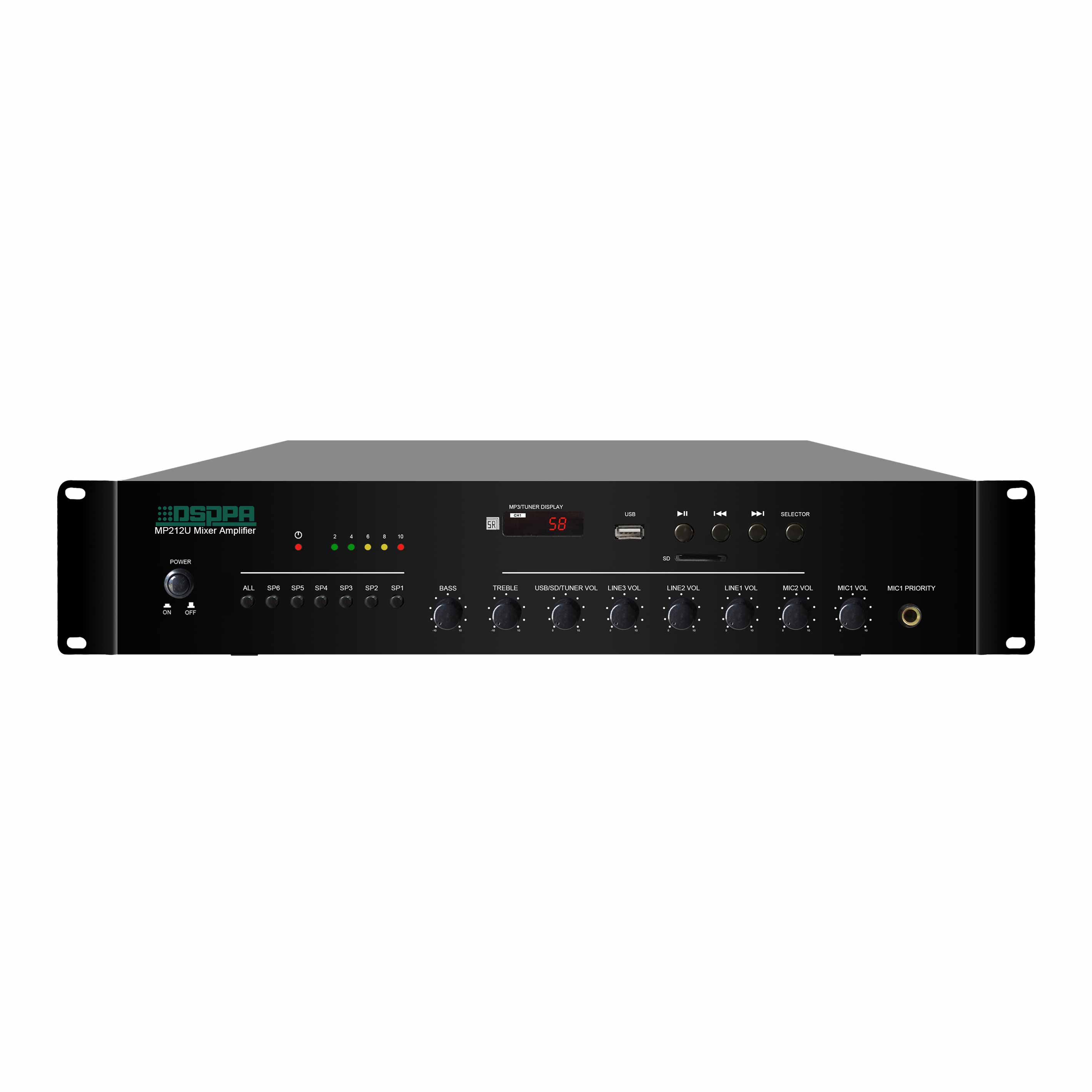 MP212U 120W 6 Zones USB/SD/FM Mixer Amplifier