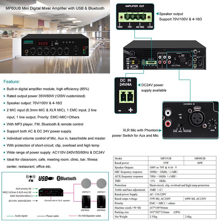 MP60UB Mini Digital Mixer Amplifier with USB & Bluetooth