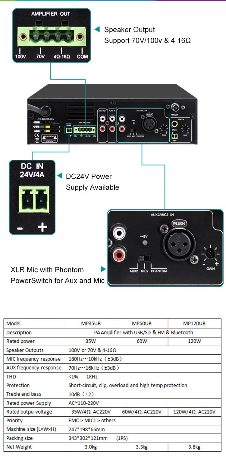 MP35UB Mini Digital Mixer Amplifier with USB & Bluetooth