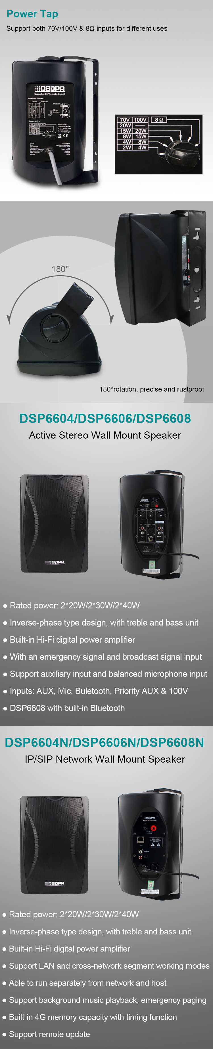 DSP8064B 40W Wall Mount Speaker with Power Tap