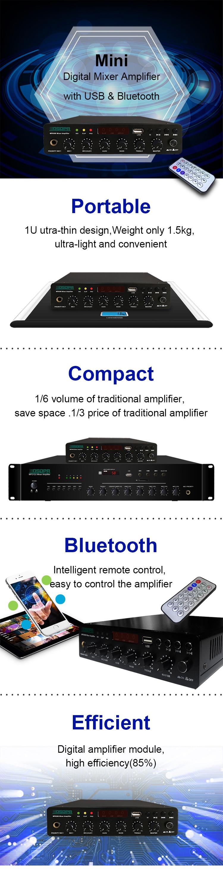 MP9306U 60W Ultra-thin Digital Mixer Amplifier