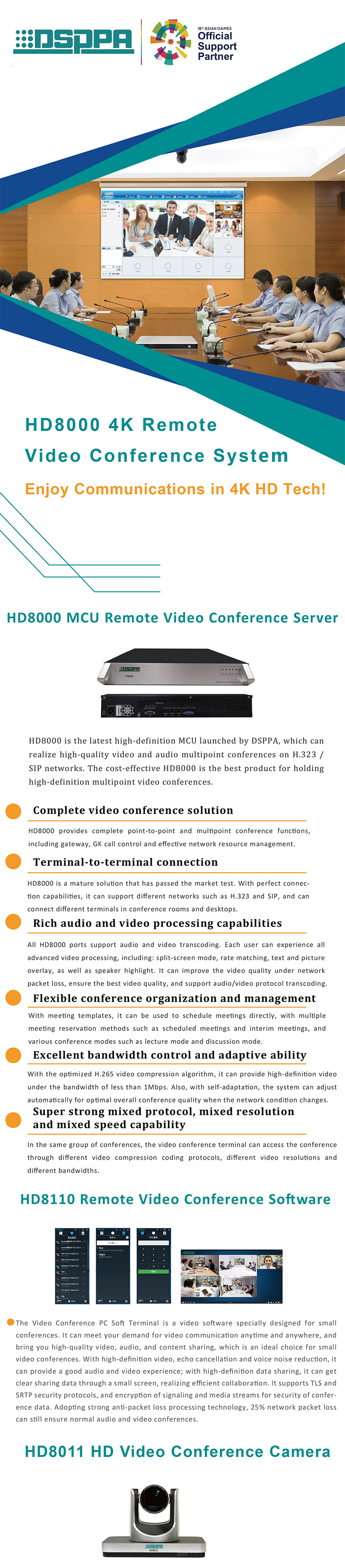 HD8000 4K Remote HD Video Conference System