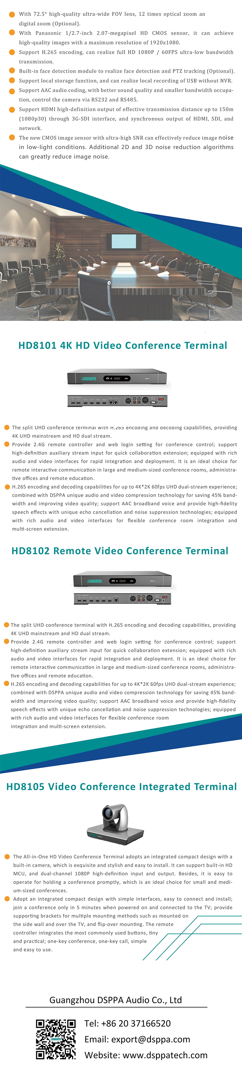 Features of HD8000 4K Remote HD Video Conference System
