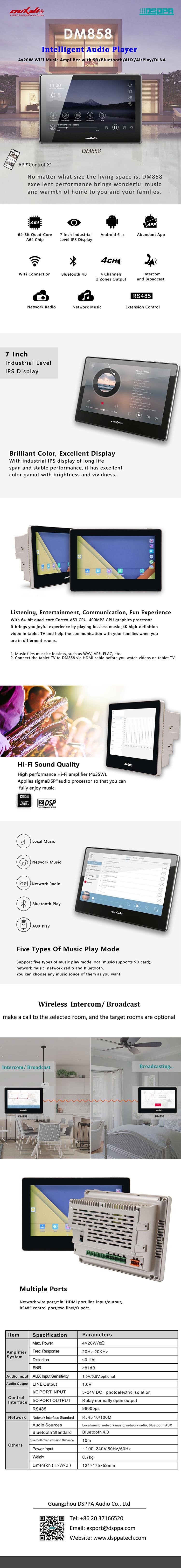 DM858 4x20W WiFi Music Amplifier